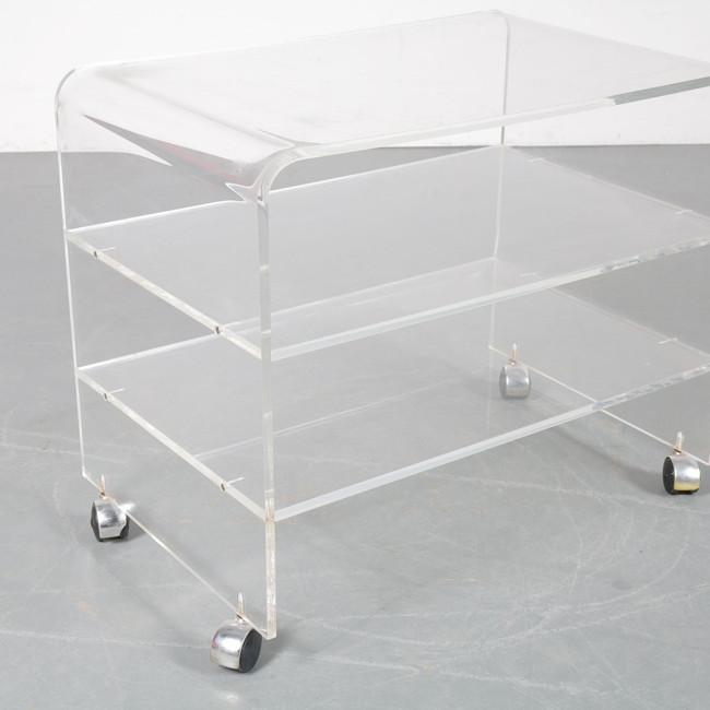 3 Shelf Clear Waterfall Side Table on Wheels