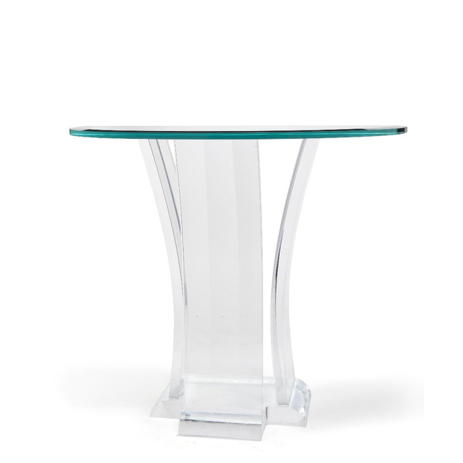 Thick Lucite Art Nuevo Style Console Table with Glass Top