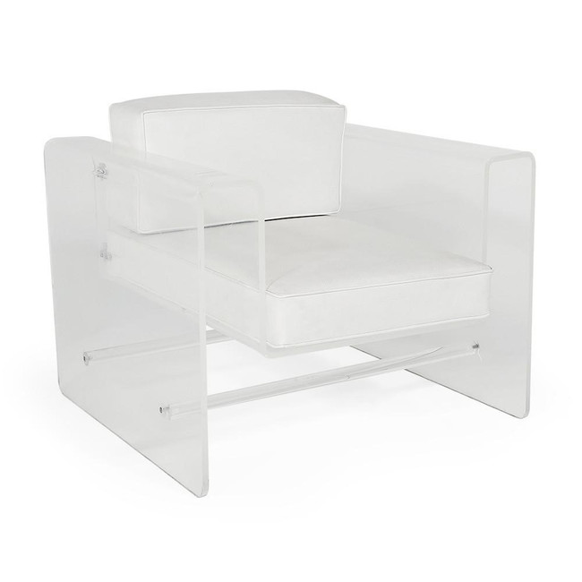 Clear Lucite Lounge Chair with White Vinyl Cushions