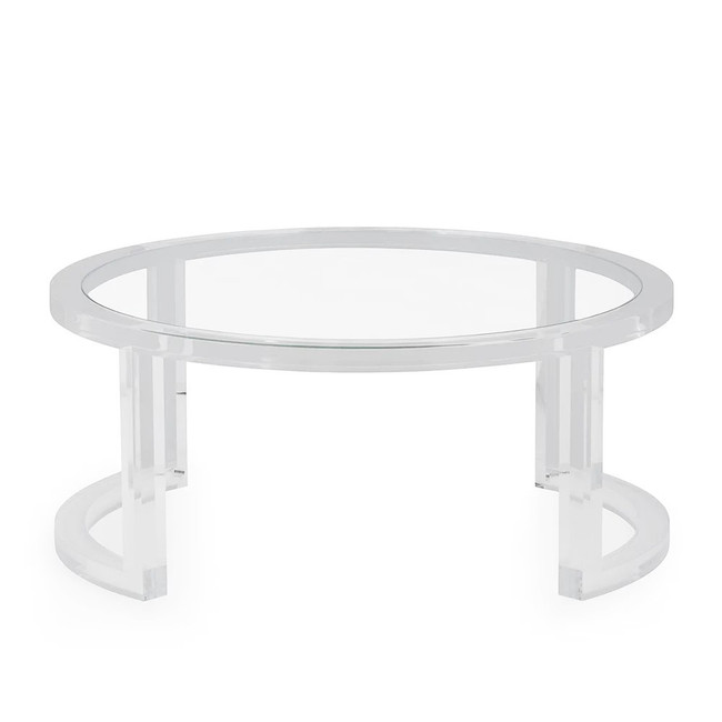 Modern Round Lucite Frame Coffee Table with Glass Top