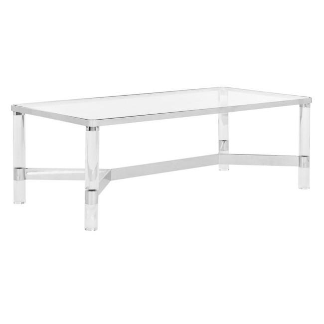Rectangular Lucite Leg Coffee Table with Metal Cross Bar
