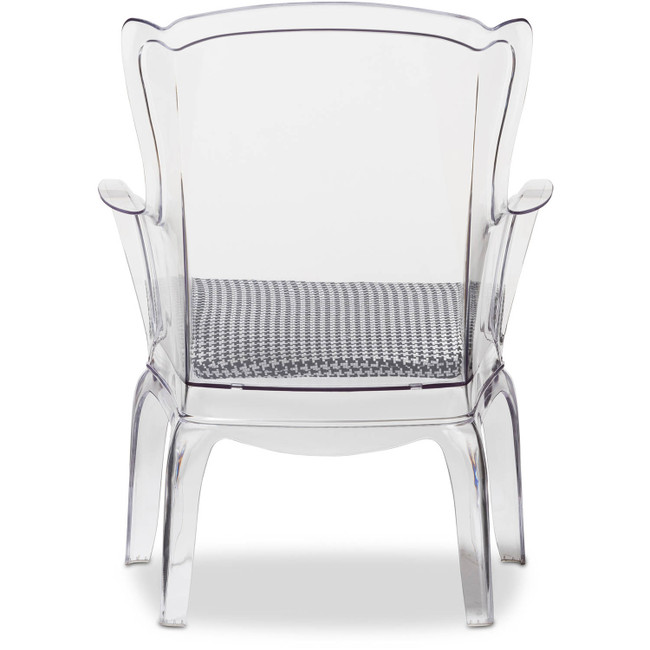 Clear Lucite Modern Wing Chair with Hounds tooth Cushion