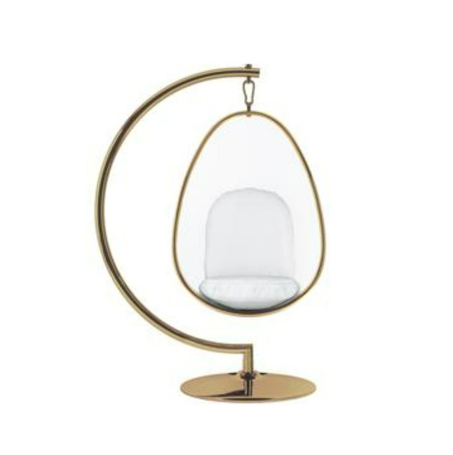 Standing Clear Egg Chair with Gold Trim and White Cushions