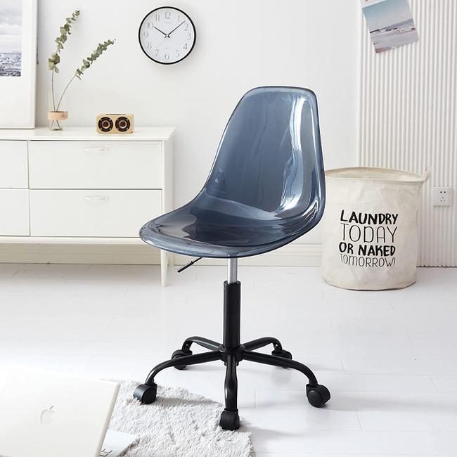 Mid Century Navy Blue Acrylic Desk Chair with Black Base