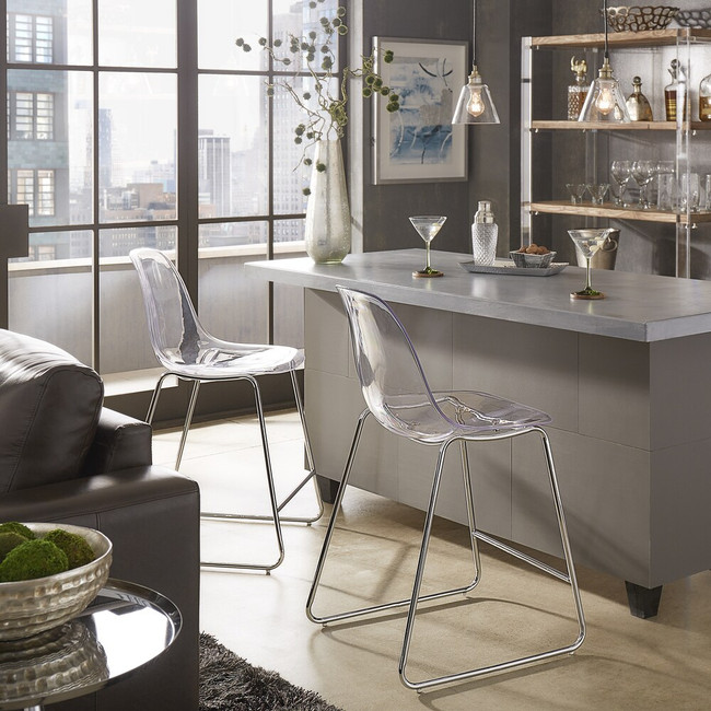 Lucite Mid Century Modern Barstools with Chrome Base, Set of 2