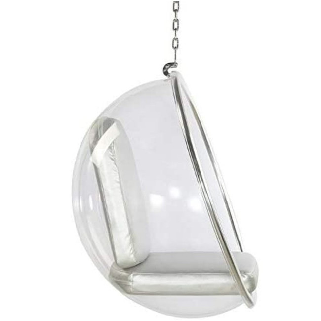 Clear Bubble Chair with Silver Cushion & Chrome Chain