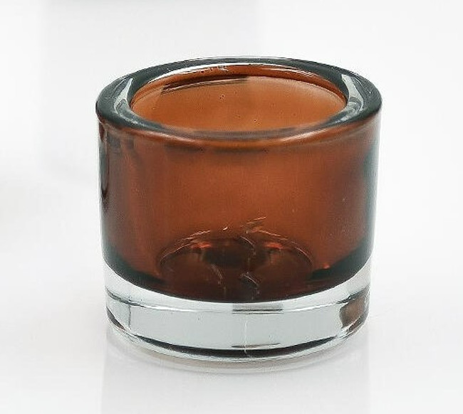 Thick Amber Brown Glass Votive Holders,  Set of 3
