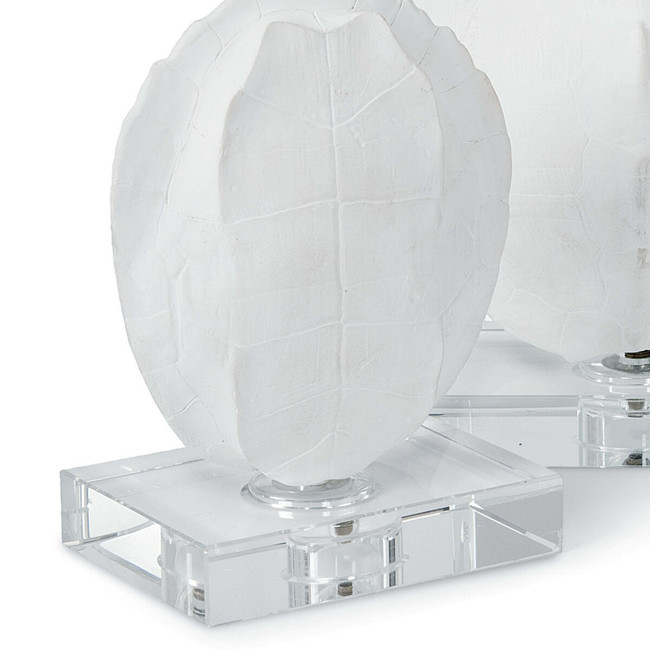 tortoise shell home décor in white on stand Regina Andrew Turtle Shell On Crystal Decorative Object Set of 2  faux turtle shell on stand for white interiors