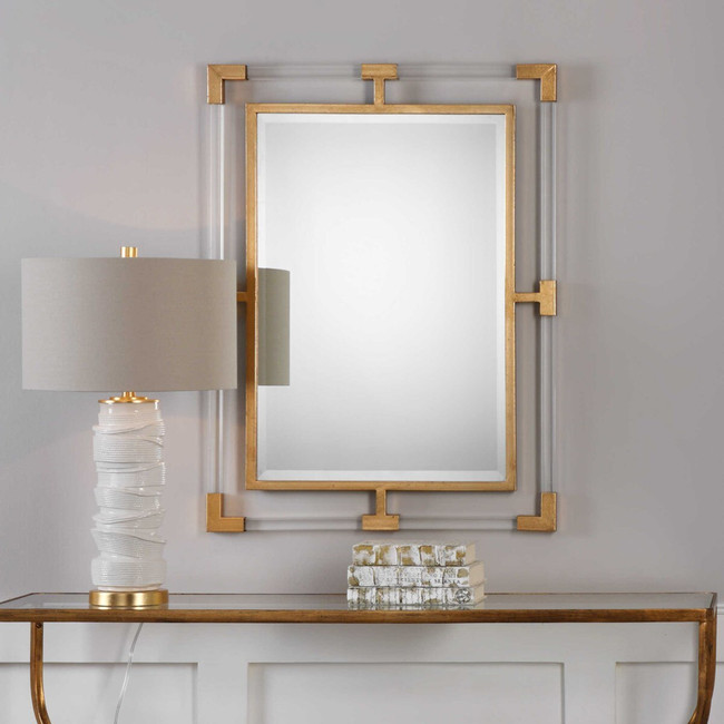 uttermost Balkan mirror clear acrylic lucite and gold brass accents rectangular