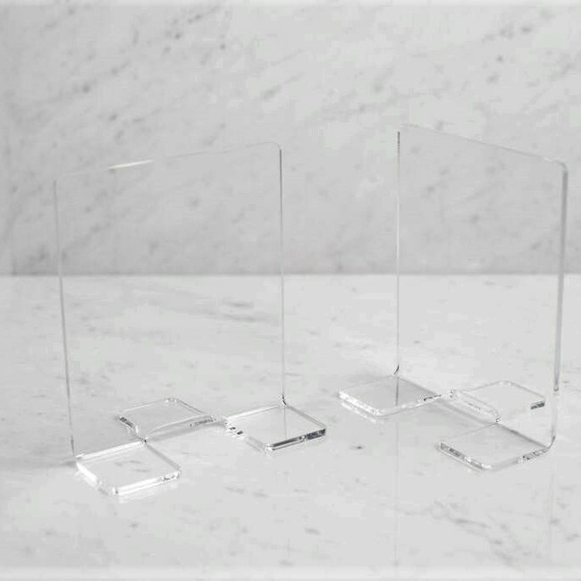 lucite bookends basic library style invisible minimal modern