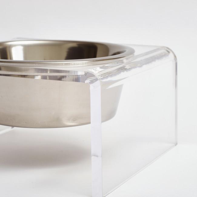 Clear Acrylic Single Bowl Pet Feeder, by Hiddin.co