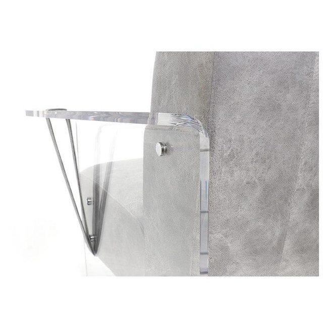clear lucite  arm chair in faux grey leather with arms panel legs