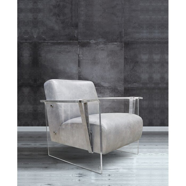 modern grey leather living room chair with clear acrylic legs arms panel and silver metal