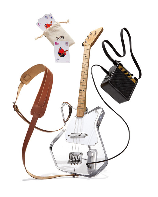 loog pro electric lucite clear acrylic kids guitar