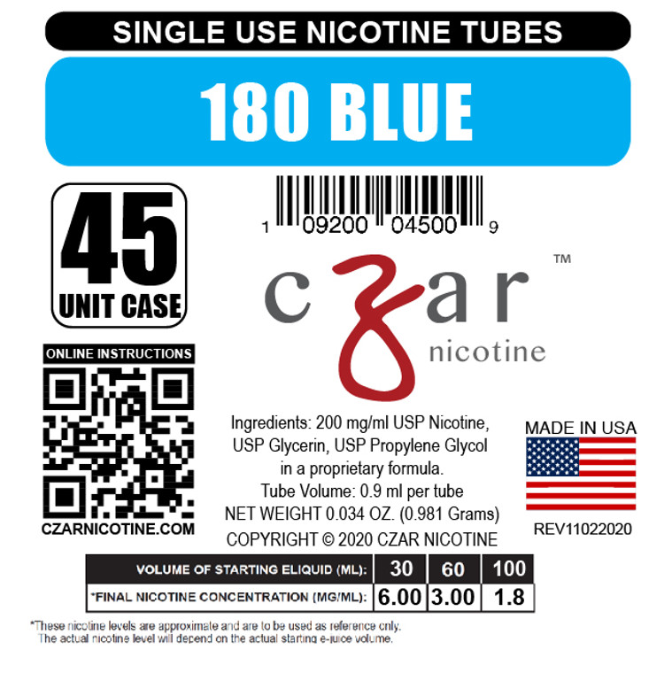 Blue Czar Nicotine Tube Shot - 180mg/ml