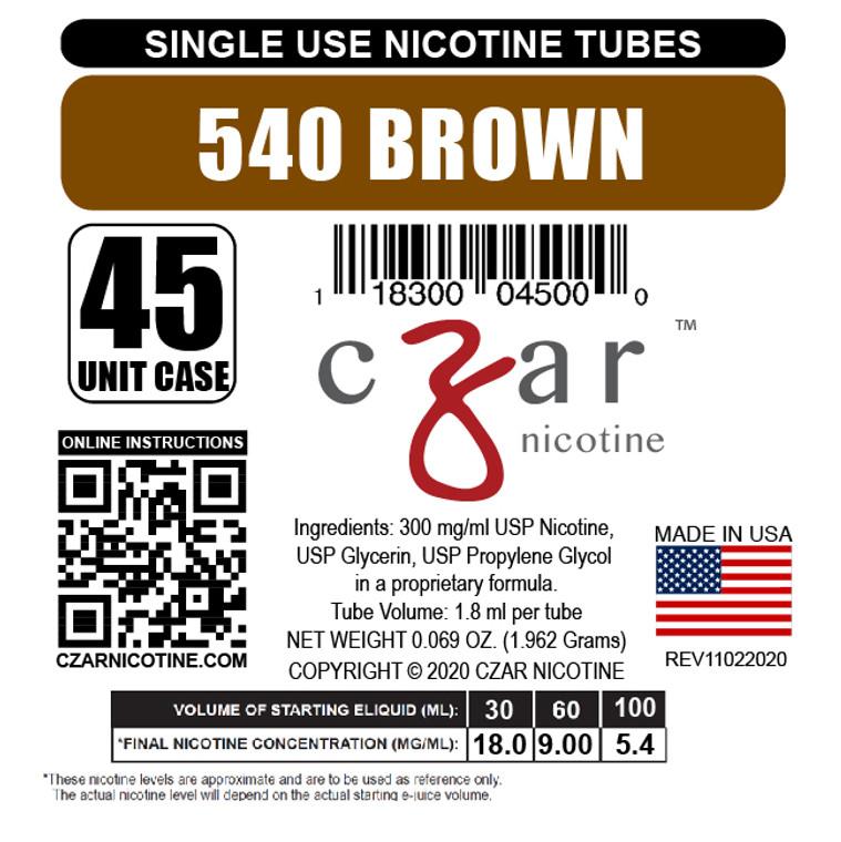 Brown Czar Nicotine Tube Shot - 540mg/ml