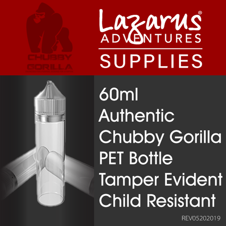 Authentic Chubby Gorilla Bottle Set Includes Child resistant and tamper evident cap and nozzle.
