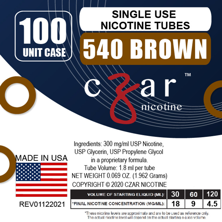 Brown Czar Nicotine 100 Units - 540mg/ml