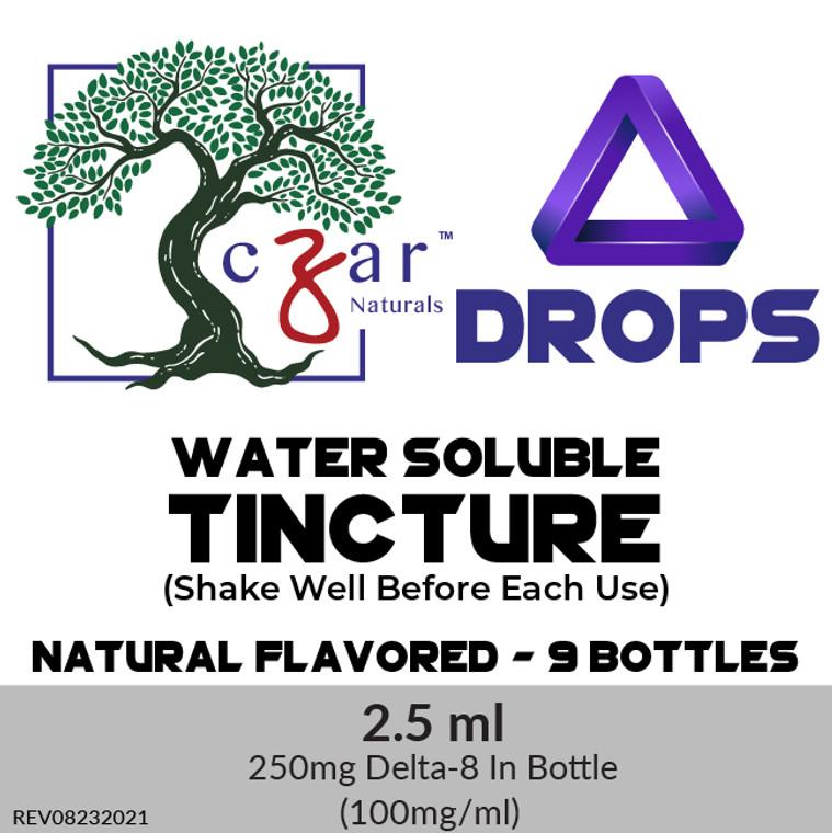 Case of 9 Czar Delta 8 water soluble 250 mg, 2.5 ml x 100mg/ml.
