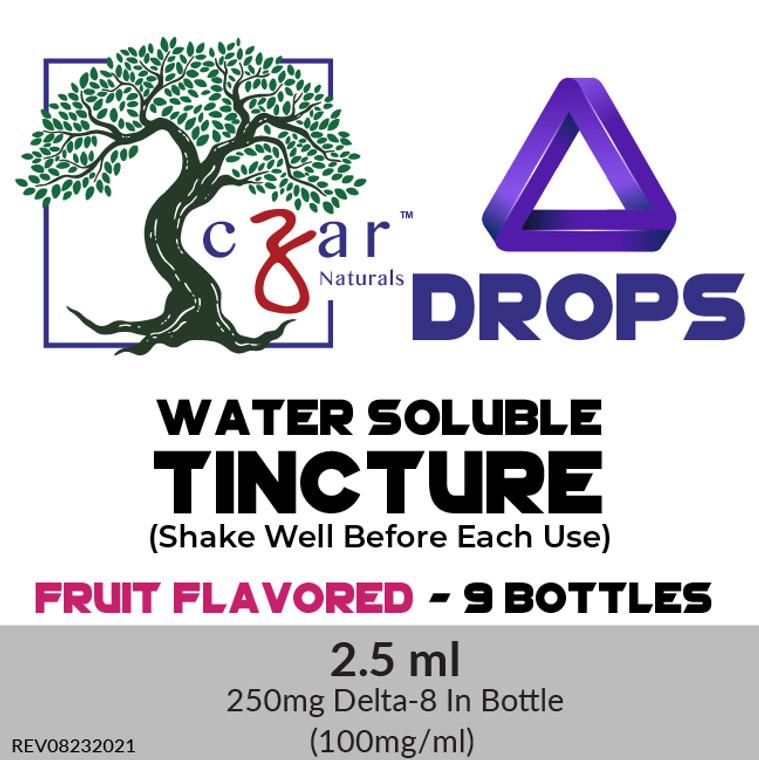 Case of 9 Czar Delta 8 Fruit Flavor water soluble 250 mg, 2.5 ml x 100mg/ml