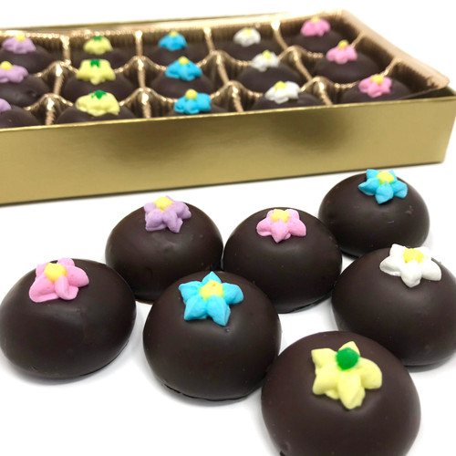 Dark Chocolate Decorated Flower Mints