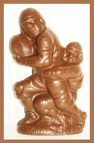 2 Football Players @ 3oz Each (Solid Milk Chocolate Football Tackle)