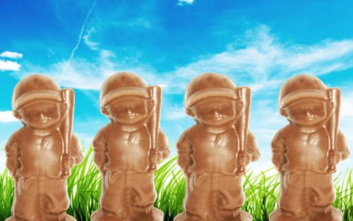 4 Solid Milk Chocolate Baseball Players @ 2oz Each