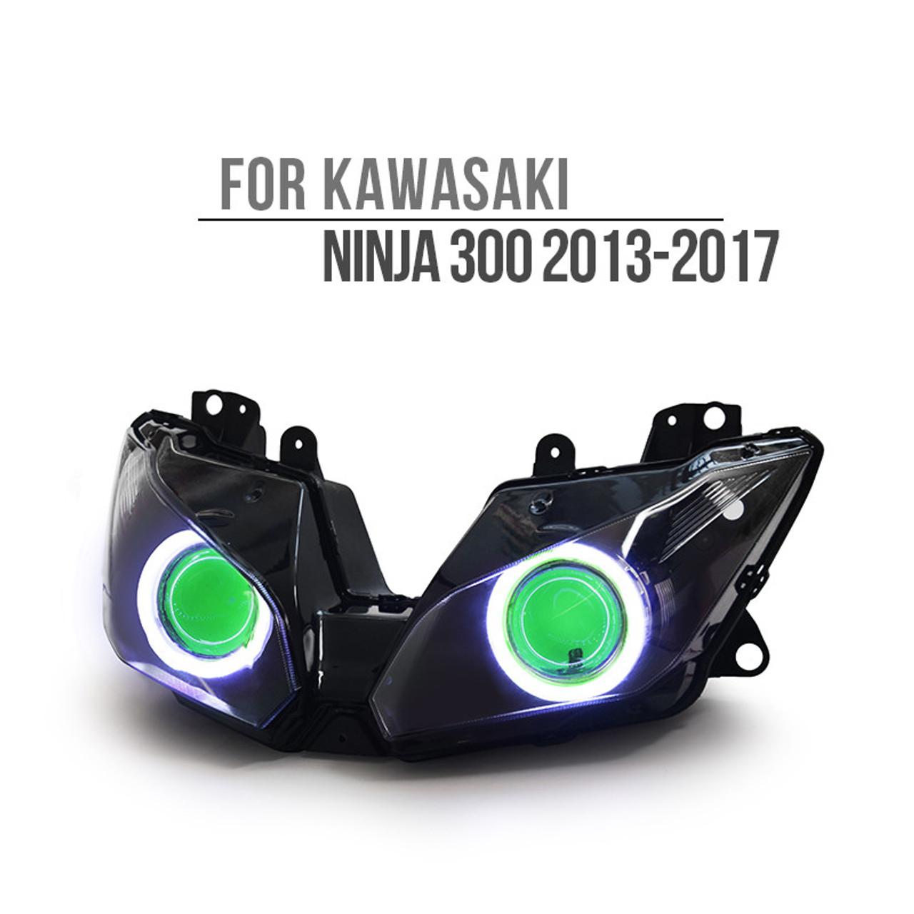 LED Projector Headlight Devil Angel Eye Fit Kawasaki Ninja EX  250 300 500 650 R