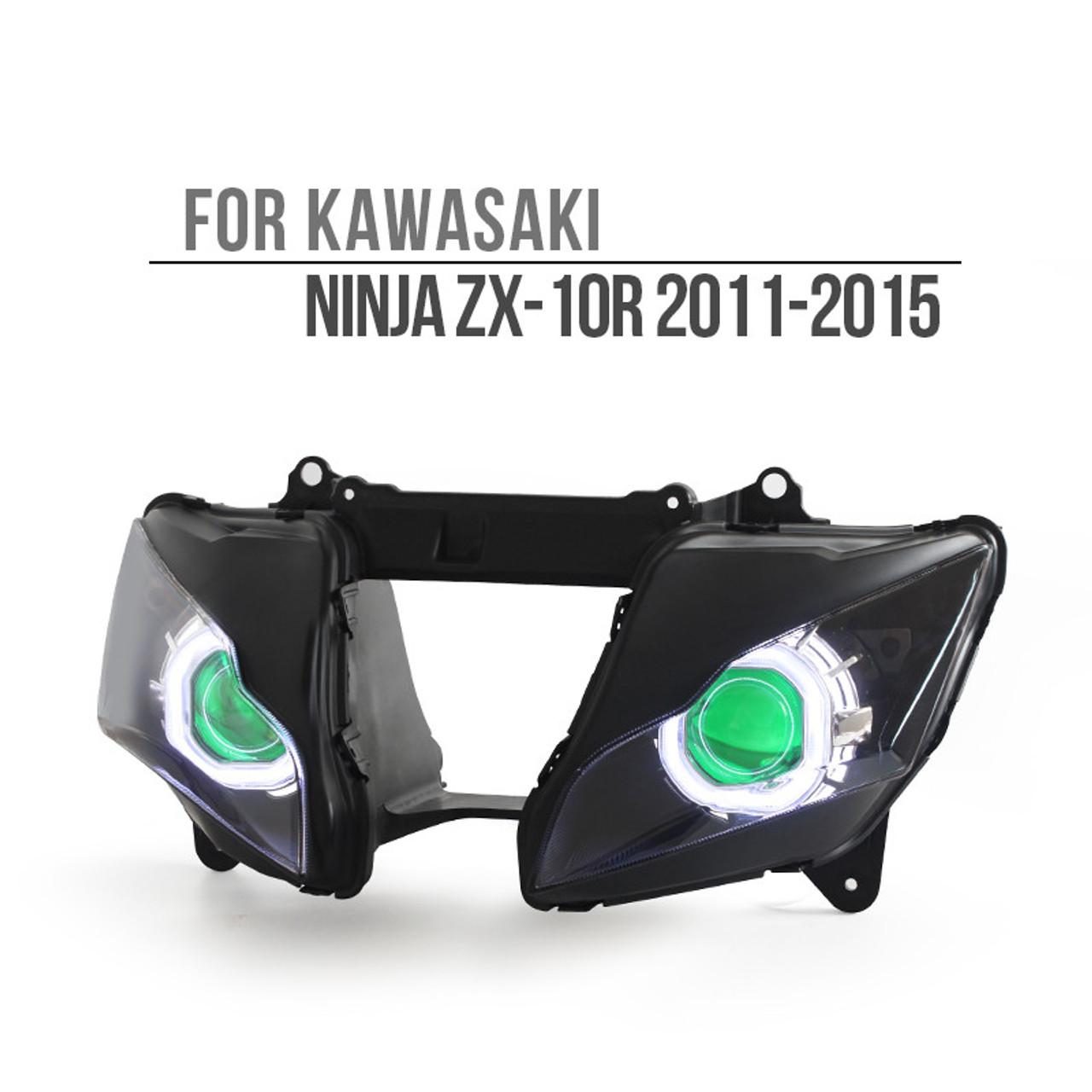 Fit for Kawasaki Ninja ZX10R 2011-2015 Dual LED Angel Eye Headlight  Assembly (Square)