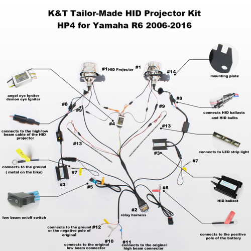 Fit for Yamaha R6 2006-2016 Tailor-Made HID Projector Kit HP4 R Hid Lights Wiring Diagram on
