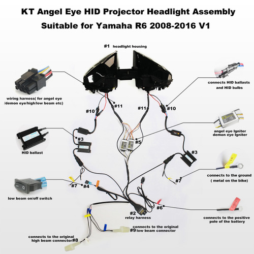 Fit for Yamaha R6 2008-2016 LED Angel Eye Headlight embly V1 R Hid Lights Wiring Diagram on