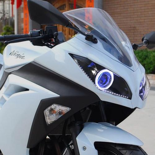 KT LED Angel Eye HID Projector for Kawasaki Ninja 300 2013-2018 Headlight Blue