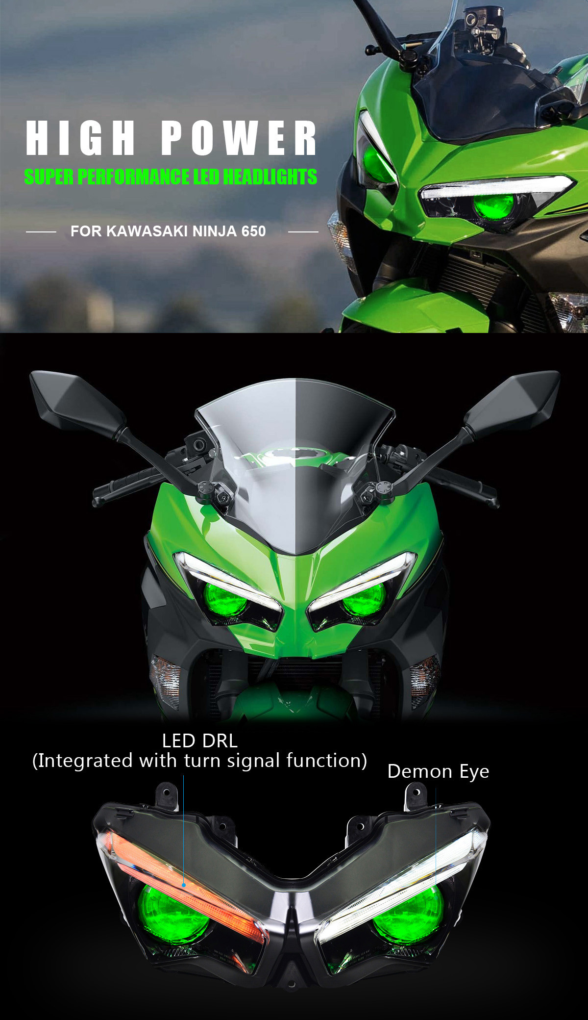 Fit for Kawasaki Ninja 650 Full LED Headlight Assembly 2020+