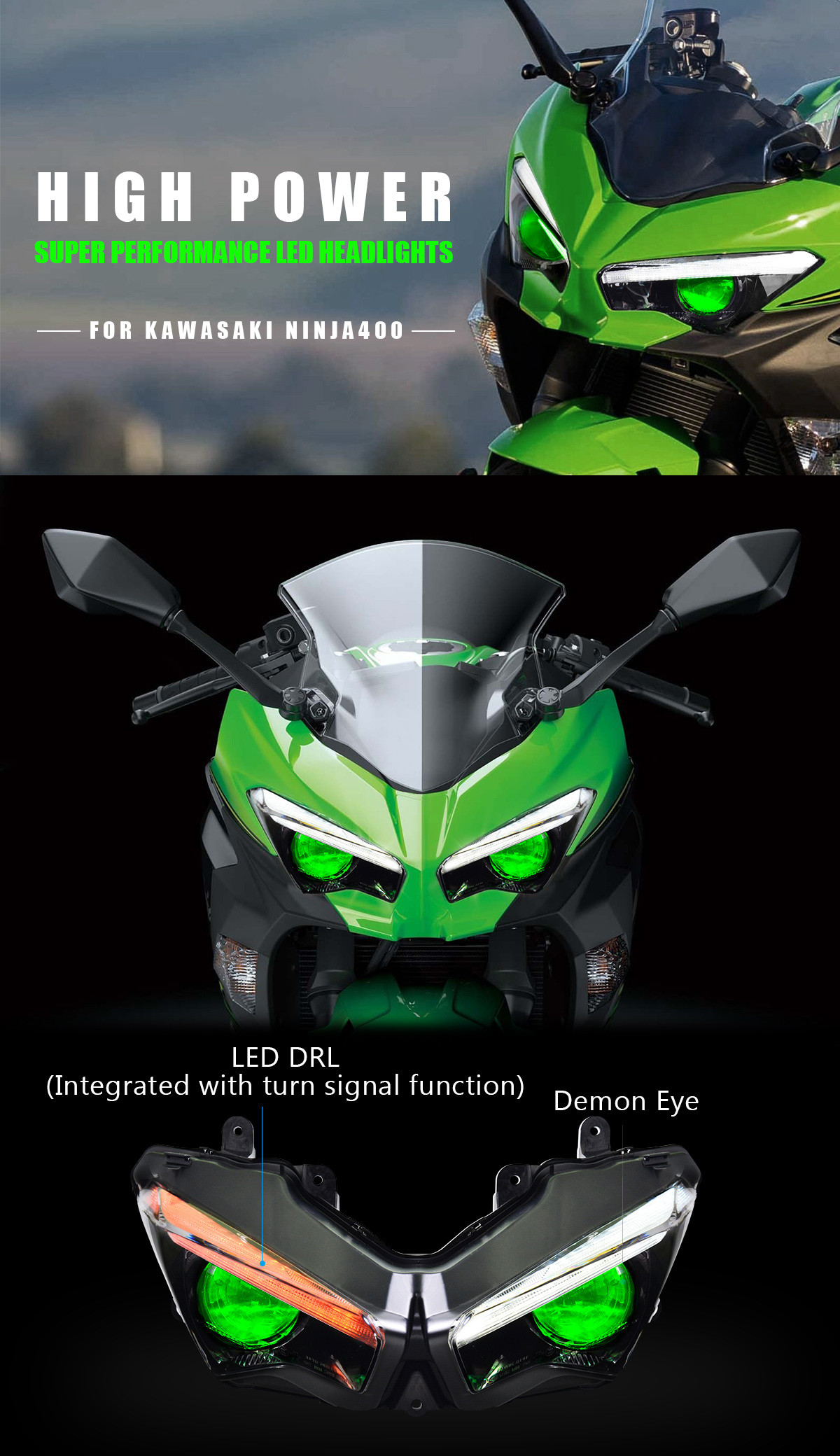 Fit for Kawasaki Ninja 400 Full LED Headlight Assembly 2018 2019