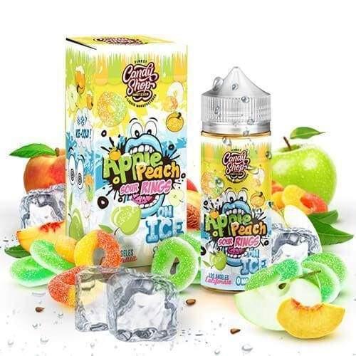 CANDY SHOP ON ICE ELIQUIDS - APPLE PEACH SOUR RINGS ON ICE - 100ML Juice MrVapes Australia