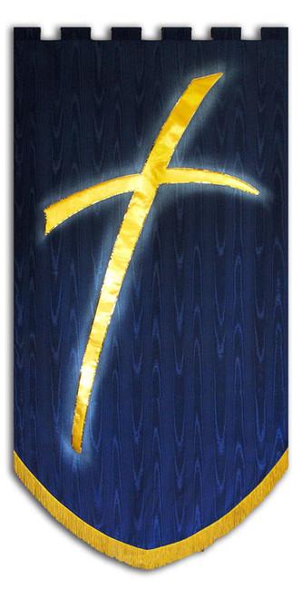Modern Cross Symbol Praise Banner Navy