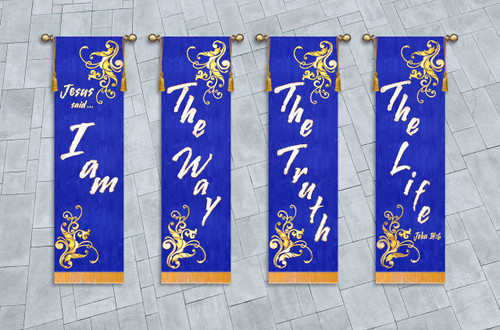 4 Banner SET - Jesus-said - I am - the way - the truth - the life
