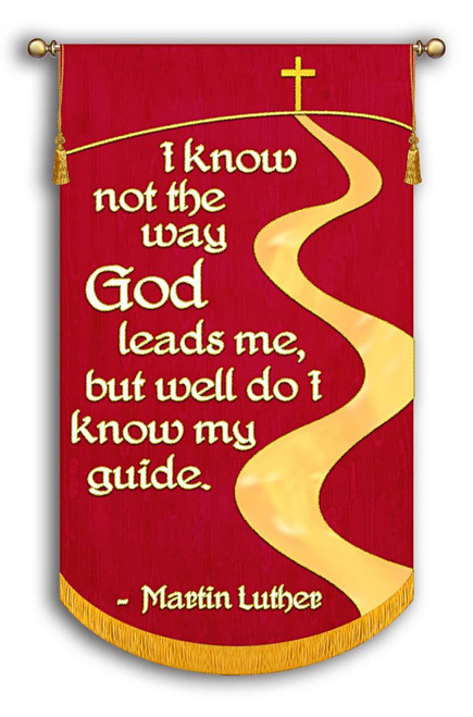 Red Background with White Text with Gold Outline, Gold Road, Cross, and Hill. Great quote from Martin Luther, the father of the Reformation! Great Banner for Reformation 500 celebration!