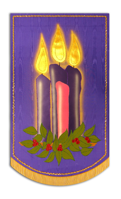 Advent candles on Purple Background