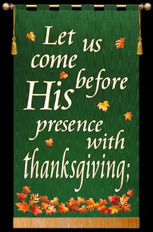 Let us come before His presence - Green, Square, Leaves