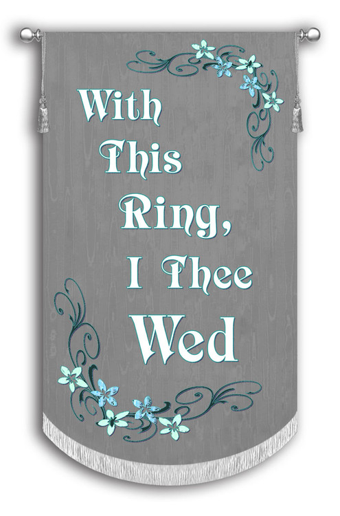 Gray Background with White Text and Teal Flowers