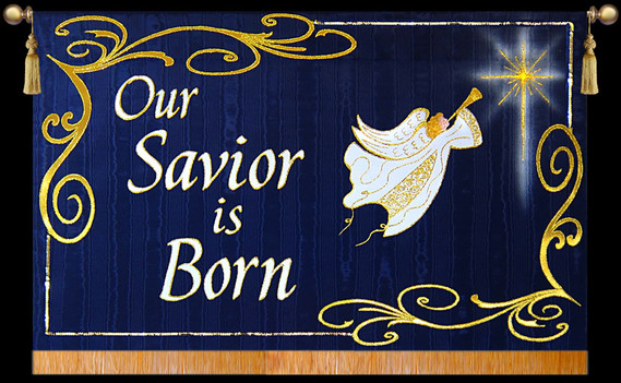 Our Savior is Born Horizontal with Angel and Scrolls