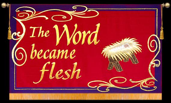 The Word became flesh with Creche - Horizontal Christimas Banner