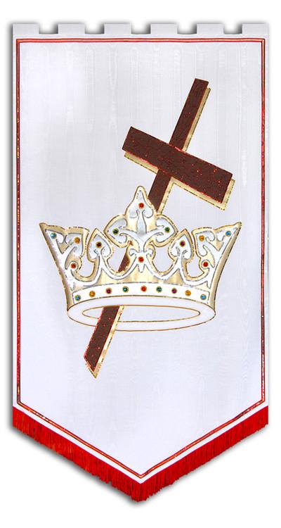 Cross Crown Chruch Banner White
