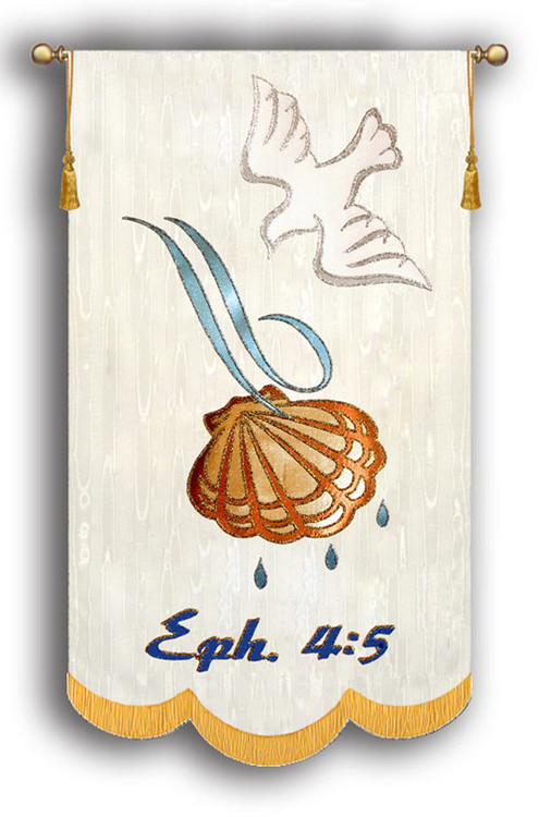 Ephesians 4:5 Baptism Banner with Dove, Shell, and Water