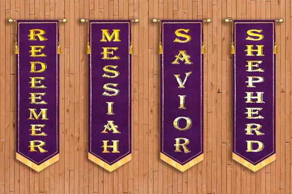4 Banner SET - Names - Redeemer, Savior, Messiah, Shepherd