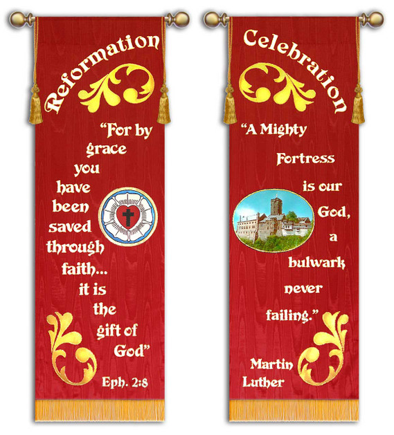 SET OF 2 - Reformation Celebration -For by Grace | A Mighty Fortress is our God - Martin Luther - Coburg fortress