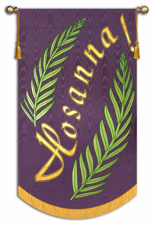 Shown on Amethyst Background with Gold Text and Light Green Leaves