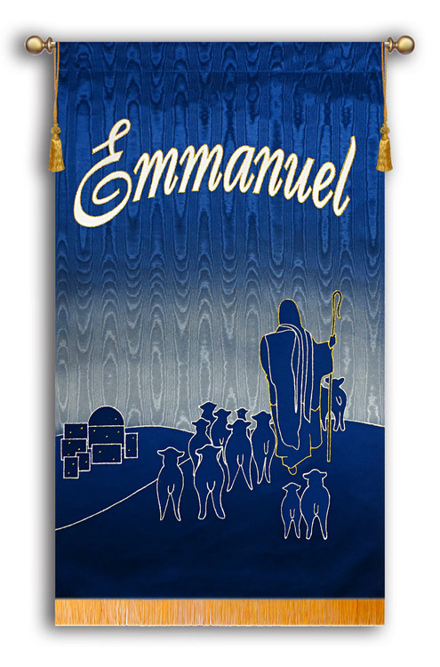 """SALE BANNER - Emmanuel with Shepherd at night - 7' x 46"""""""