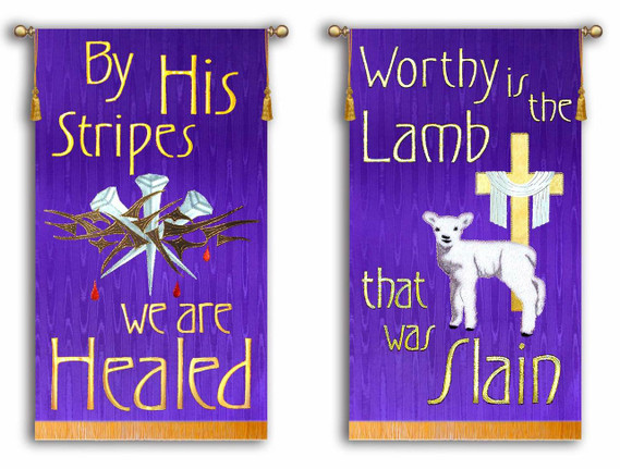 By His Stripes - Worthy is the Lamb - 2 Banner Set